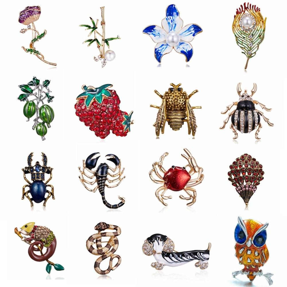 Broschen Rinhoo Emaille Tier Bee Käfer Schlange Krabben Eidechse Eule Hund Blume Broschen Für Frauen Mädchen Kristall Brosche Pins Geschenk Kunden Zuerst