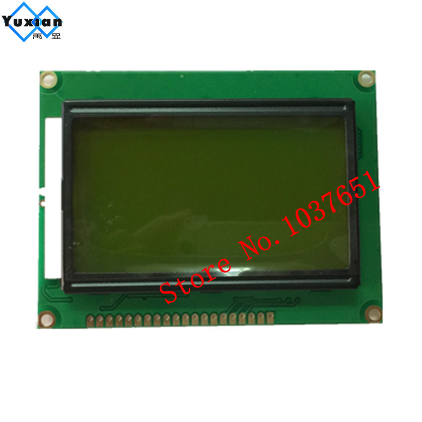 12864 lcd display module STN green screen green backlight 5v standard graphic ST7920 size 93*70mm