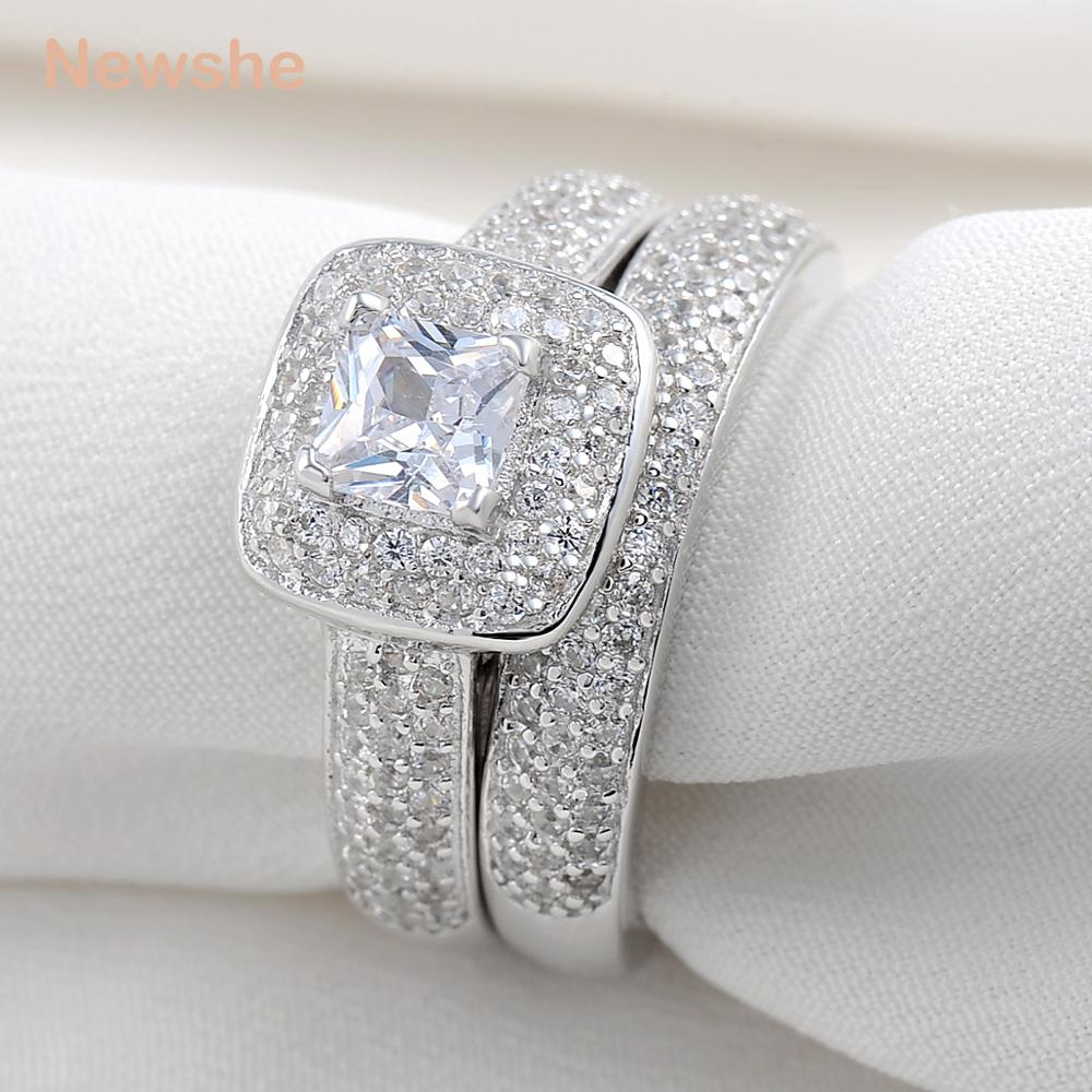 Newshe 3 Carats Silver Plated Wedding Ring Set Engagement Band Classic Jewelry For Women ...