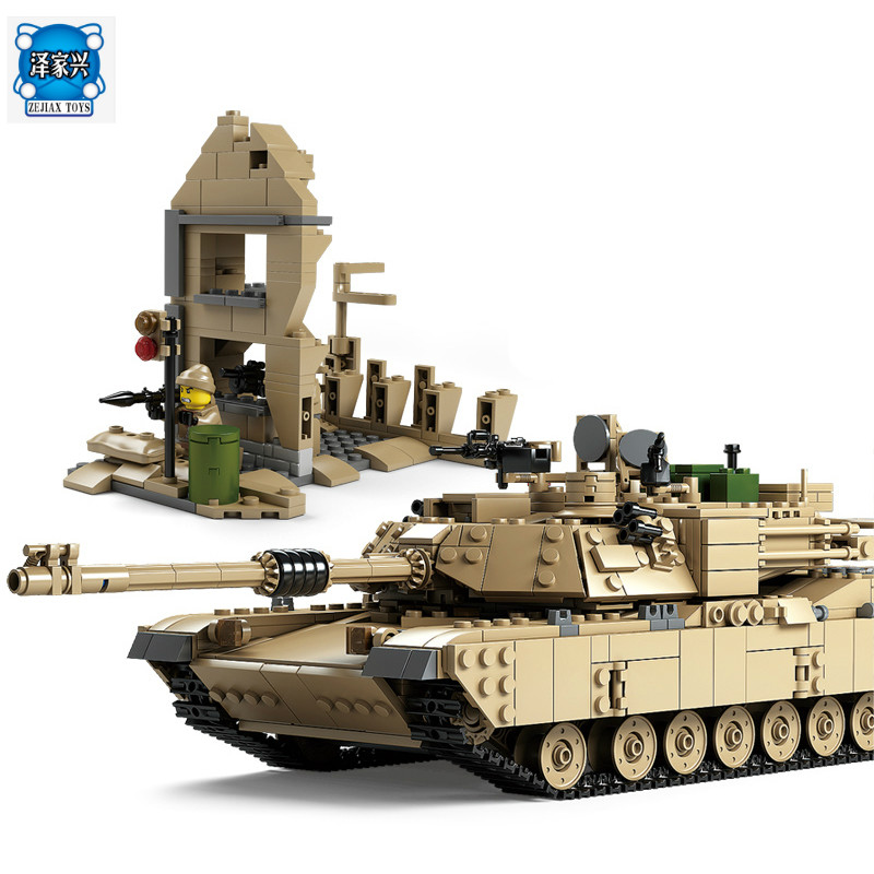 Kazi Military M1A2 Tank Collection Series Trans Toys ABRAMS MBT HUMMER Model Building Kits Blocks Bricks Compatible with Lepins kazi 2017 new 635010 15 military series super weapon figures tank model building blocks set bricks kids children toys gift
