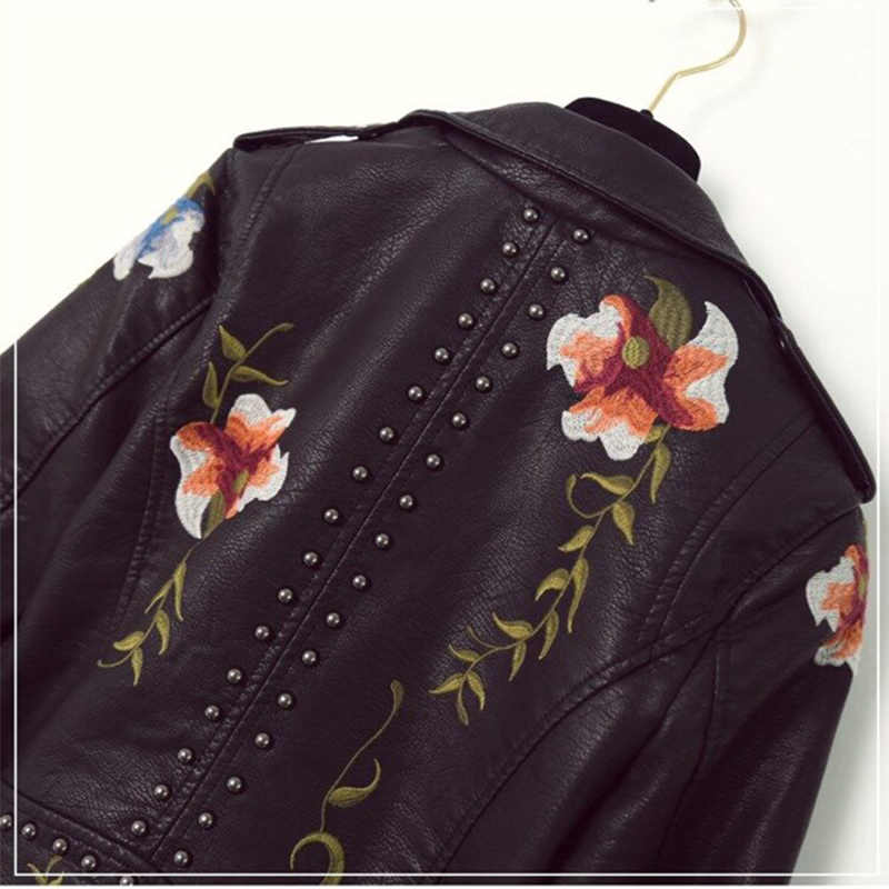 Fitaylor Women Embroidery Pu Leather Jacket Faux Soft Leather Black Punk Rivet Short Coat Zipper Pu Motorcycle Lady Outerwear