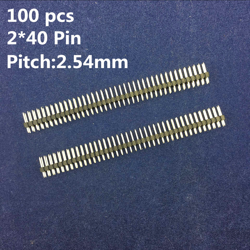 100 pcs/pack 2.54mm Male Double Row Header Strip 2*40 PIN Connector DIY Kit Parts