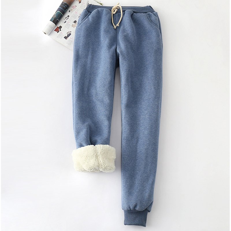 Autumn Winter Women Long Trousers Warm Thick Velvet Harem Pants Female Elastic Waist Sweatpants Fleece Cotton Casual Pant