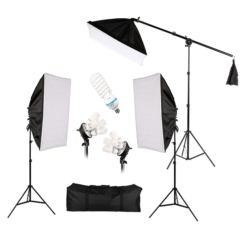 Professional Lighting Kit With Three Softbox Lights, Boom Arm Hairlight Softbox, Lighting Kit for Studio Photography And Youtube