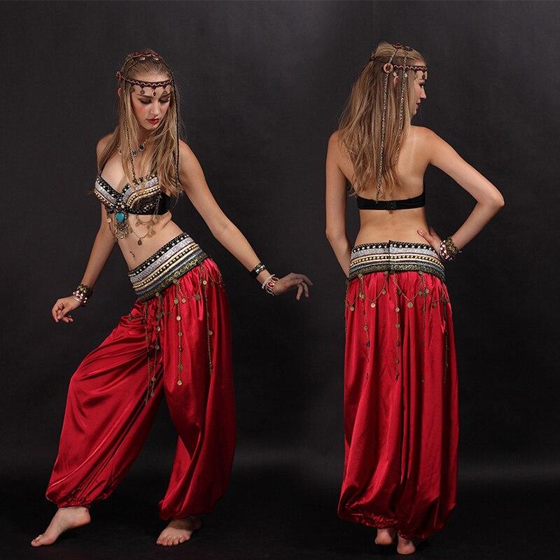 Classique femmes égyptien danse du ventre Costume soutien-gorge + ceinture + pantalon 3 pièces dames tribu danse Oriental Costume Sari indien vêtements