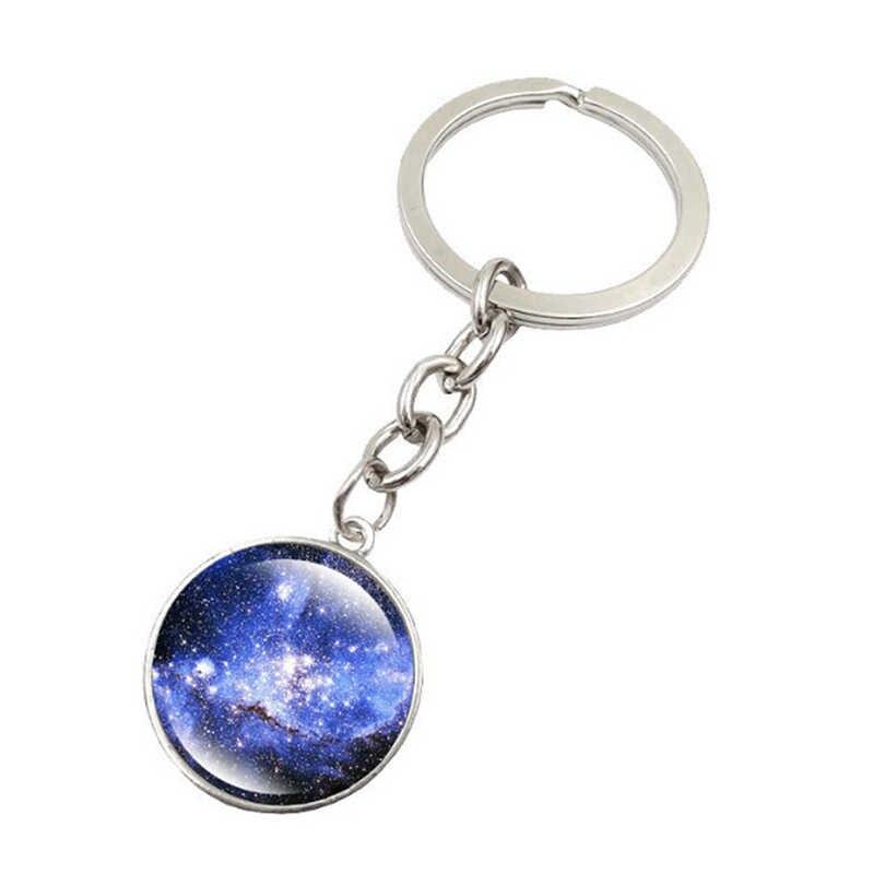 แฟชั่นส่องสว่าง magic Sky Planet แก้วคริสตัล Key แหวนดาว Galaxy รูปแบบ Key แหวนของขวัญของที่ระลึกสำหรับของขวัญ