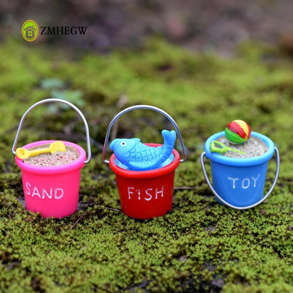 Mini Home Micro landscape Decoration Resin Miniature Beach Bucket DIY Craft Accessory Home Garden Decoration Kids Creative Toys