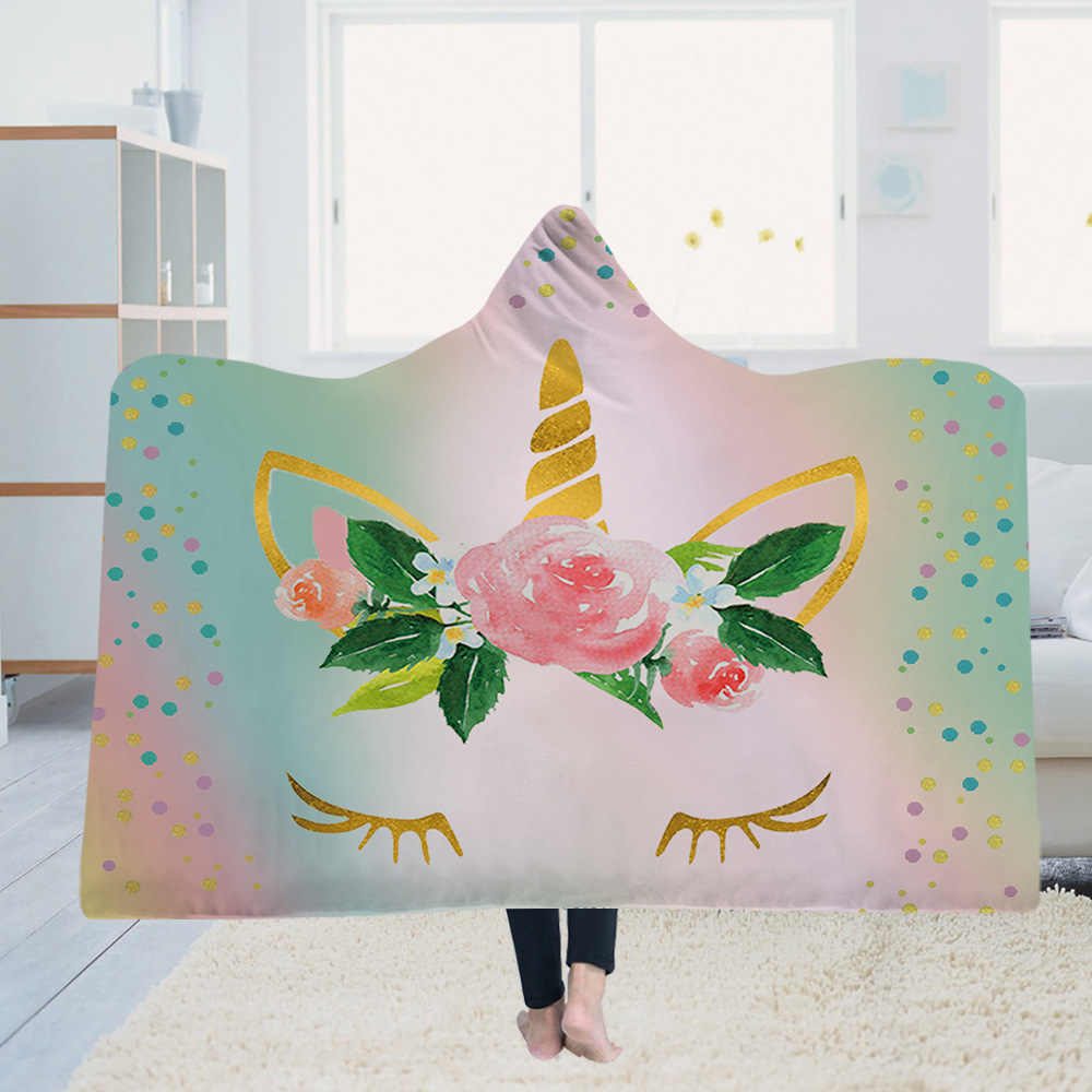 Stuoia di Yoga Coperta Con Cappuccio Mantello Magico Cappello Coperta di Spessore Doppio-strato di Peluche 3D Unicorno Serie di Stampa Digitale
