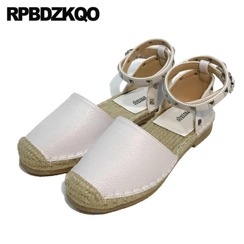 f8db1b9f4 Espadrilles Flats Hemp Stud Ankle Strap Round Toe Sandals Designer Shoes  Women Luxury 2018 Straw Rivet