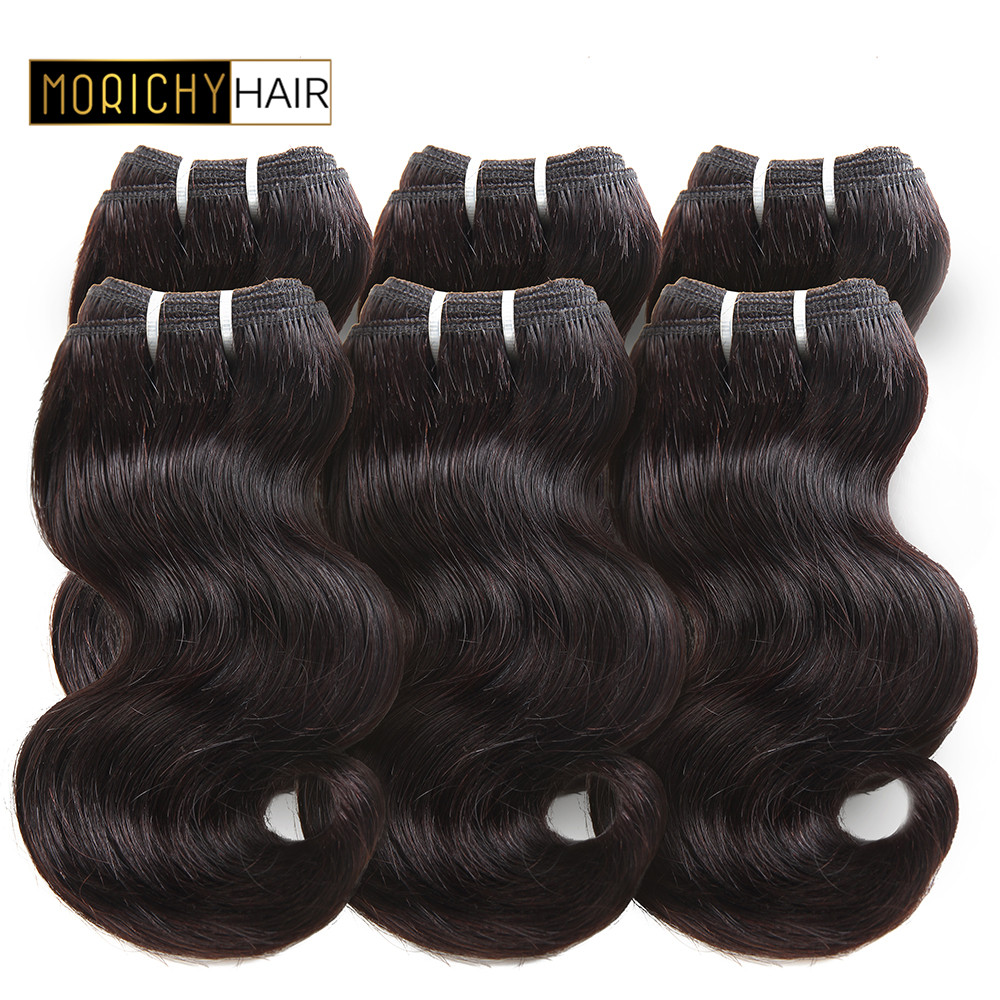 MORICHY 50g Body Wave Hair Bundles 8inch Double Drawn Peruvian Human Hair Extension Non Remy Natural Black Color
