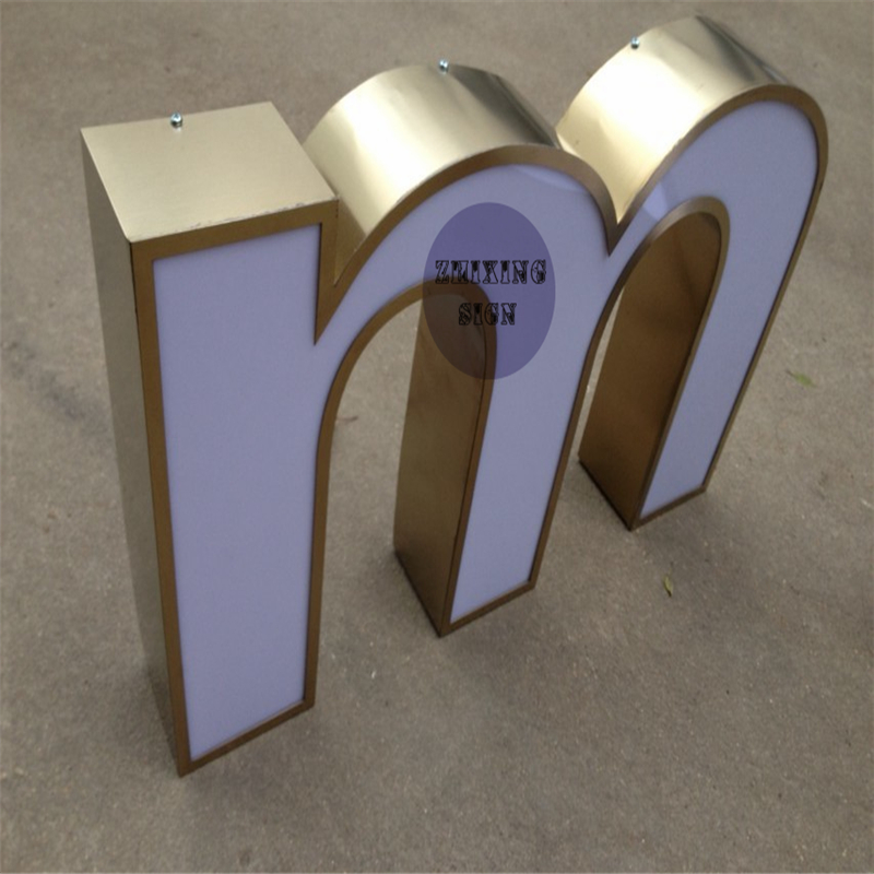 High End Outdoor Advertising Front Lit Acrylic Channel Letter Sign And Golden Side