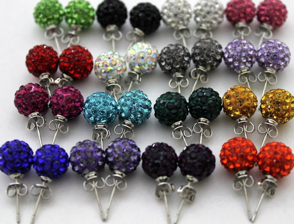 20pair/lot 10mm disco ball bead mixed white multicolor stainless steel Crystal Beads stud earrings silver plated l4545|Stud Earrings| - AliExpress