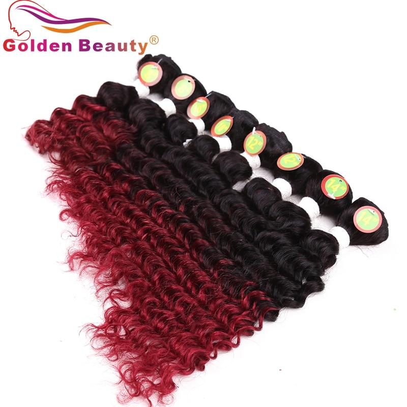 8-14 tums Ombre Deep Wave Hair Bundles 8st / Lot Värmebeständigt - Syntetiskt hår - Foto 4