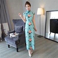 شنغهاي قصة فستان تشيباو الصينية نمط الأزهار طباعة شيونغسام أثواب الشعبية طويلة الشرقية اللباس للمرأة