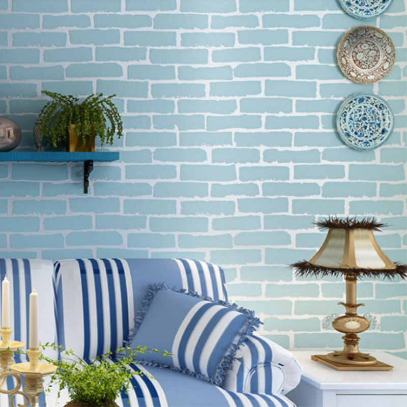 Modern 3d brick blue white wallpaper 10m living room for 10 living room cafe by eplus