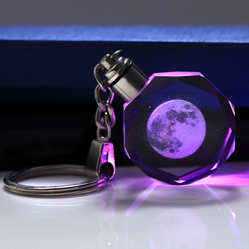 Finish Laser Engraved Crystal Moon Keychain Miniature Moon Glass Car Key Ring LED Light Colorful Key Chain Home Decoration Gift