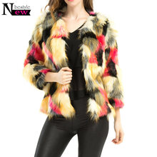 Winter Fashion Women Luxury Faux Fur Coat Mix Color Long Sleeve Female Shaggy Jacket Slim Long Fur Fourrure Camouflage Parkas(China)