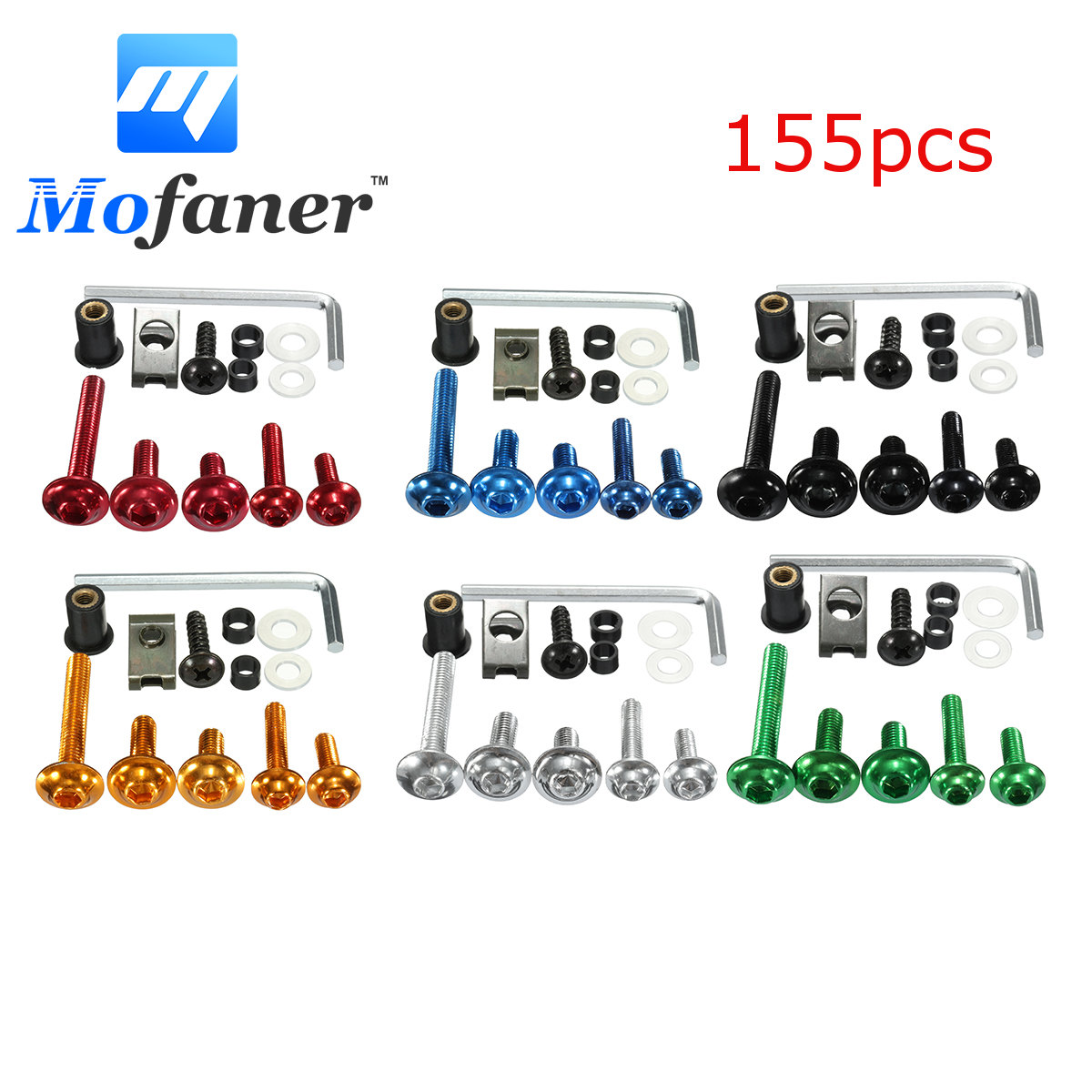 155 Pcs Motorcycle Sportbike Windscreen Fairing Bolts Kit Fastener Clips Screws Black Red Blue Green Silver