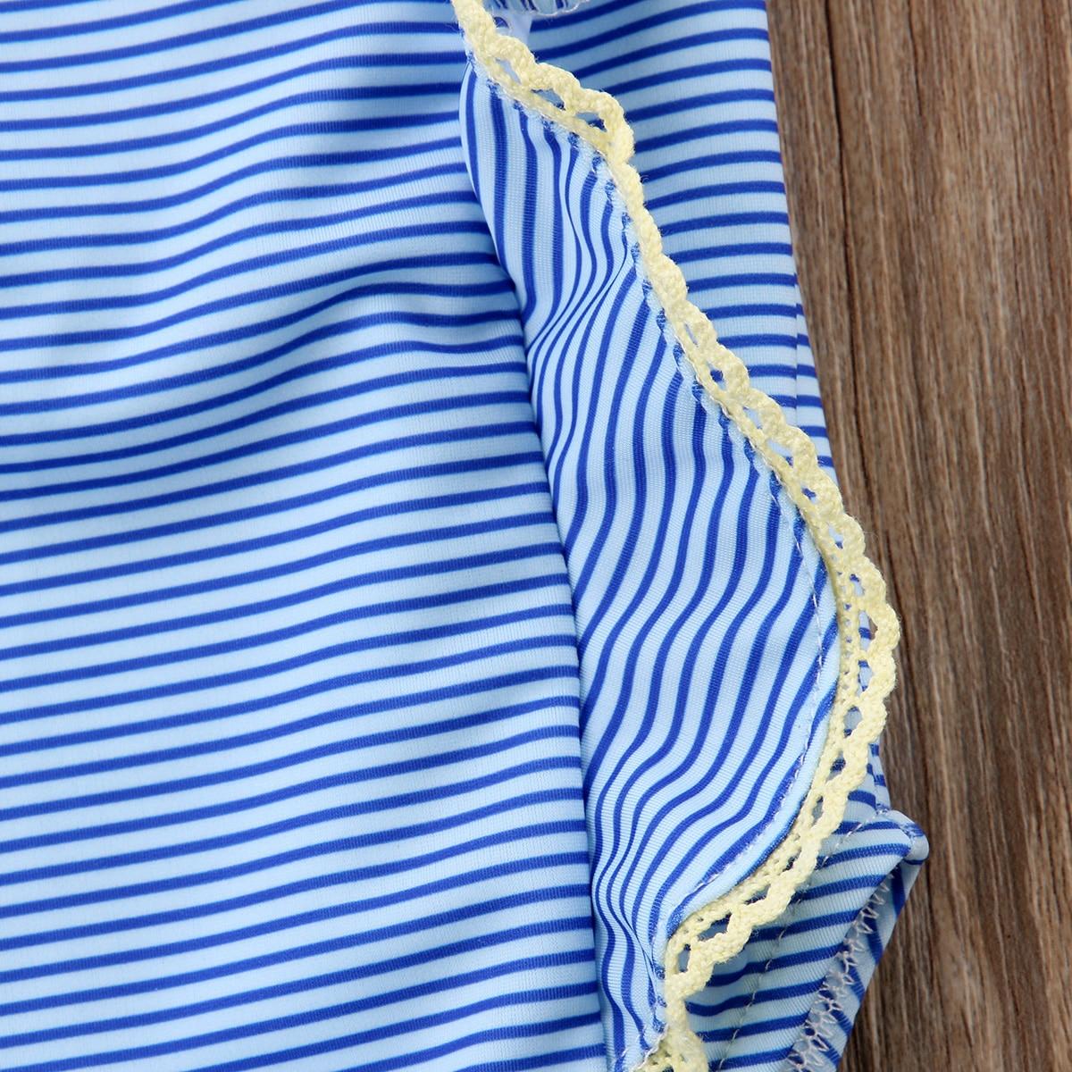 Fashion Toddler Kids Baby Girls Striped Ruffles Sleeveless Bikini Swimwear Swimsuit Bathing Suit Beachwear 0-24M