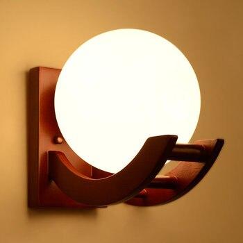 Matowe Szkło Minimalizm Drewna Dąb Nowoczesne Drewniane ściany światła Lampy Oświetlenie Do Sypialni Oświetlenie Kinkiety ścienne Solidne Drewniane ściany światło