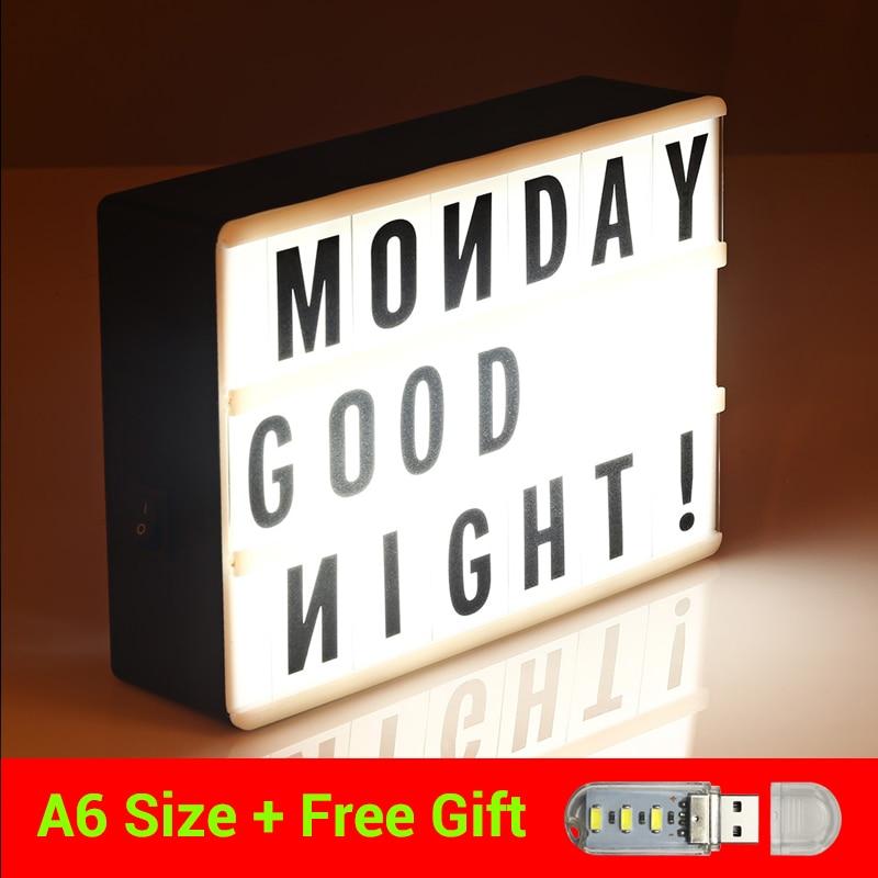 TangoCross LED Cinema Light Box Cinematic Lightbox Night Light Lamp A6 Size DIY Letters Combination Creative Gift Light Box