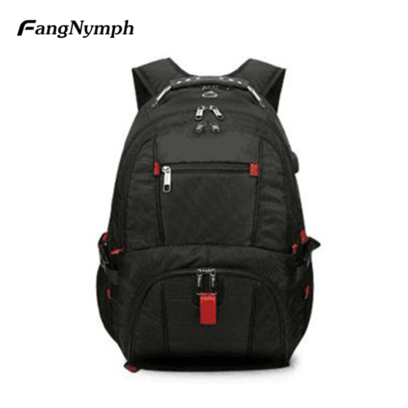 FangNymph 15 Multi-functional Nylon Laptop Backpack Shoulder Bag Male Business Casual Computer Bag Men Large Travel Mochilas lowepro protactic 450 aw backpack rain professional slr for two cameras bag shoulder camera bag dslr 15 inch laptop