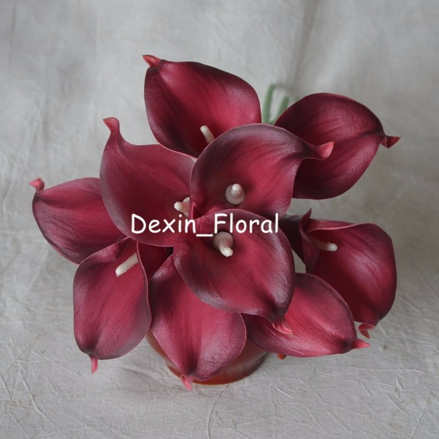Lighter Burgundy Calla Lilies Real Touch Flowers For Silk Wedding ...