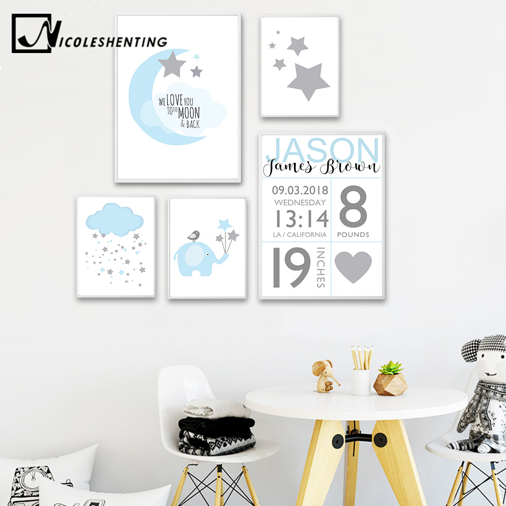 NICOLESHENTING Birth Stats Custom Posters Cartoon Nursery Canvas Art Prints Painting Wall Picture Nordic Kids Bedroom Decoration