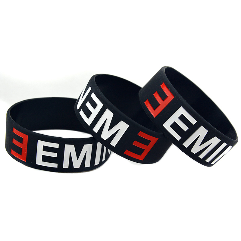 OBH 2PCS ein Zoll breites schwarzes Eminem Silikonkautschuk-Armband - Modeschmuck - Foto 6