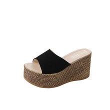 b2d9e1a37 الفلين صندل خشبي النساء الصيف الأحذية الصلبة الأخضر الأسود البيج عالية  الكعب عارضة الكتان النعال sapato