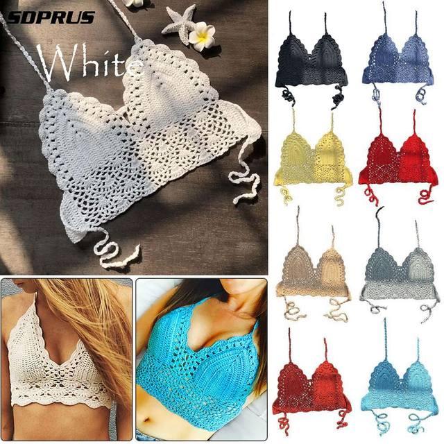 2019 New crop top Sexy Women Summer Backless Crochet Knit Beach Knitting Halter Cami Tank Crop Top S / M / L / XL