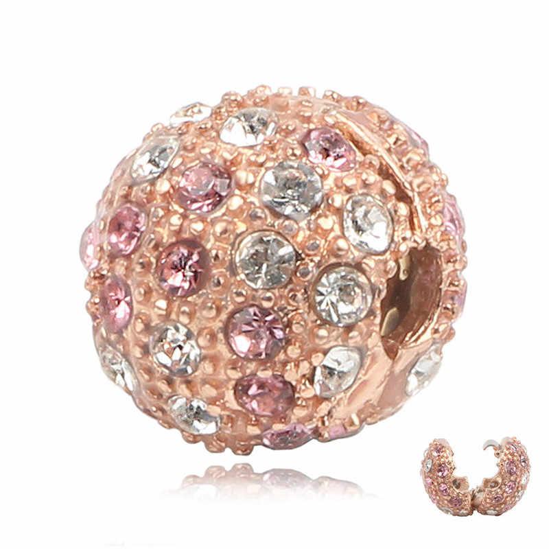 Sencillo cochecito de bebé con diseño de huella de niño, cuentas DIY de Color rosa dorado, abalorios Pandora originales, pulsera de Color plateado, joyería de regalo para mujer