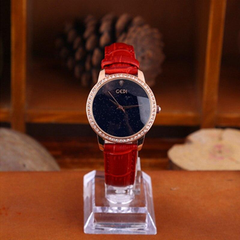 Casual Quartz Wristwatch Diamond Elegant Ladies Women Brand Fashion Watches Leather Analog