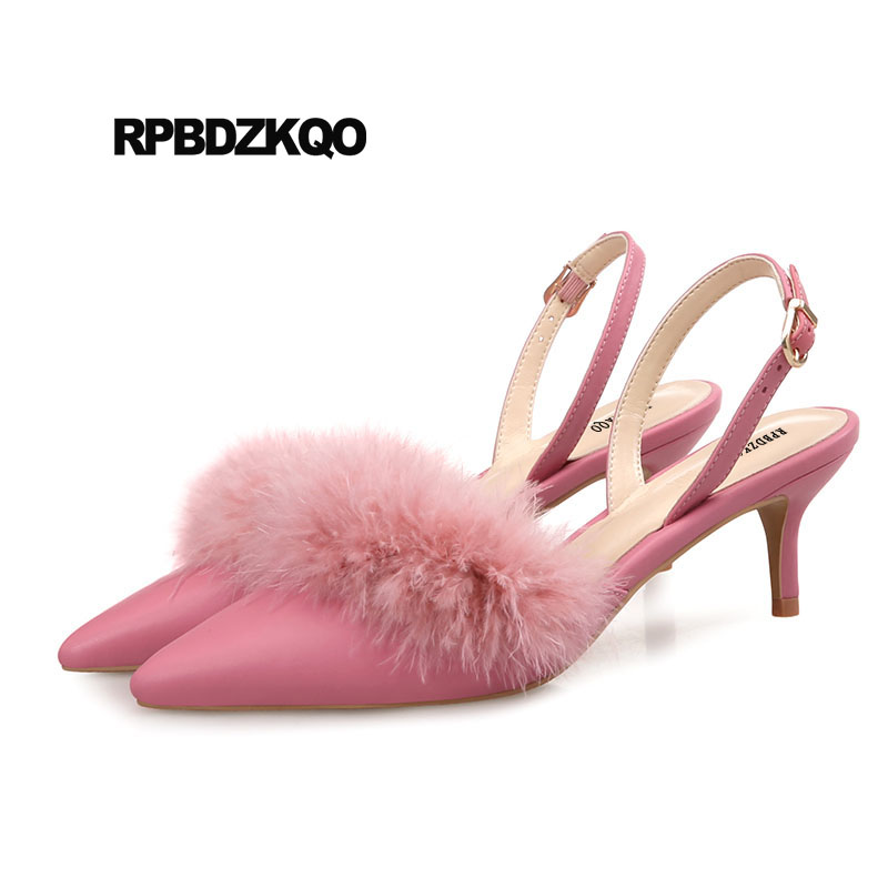 Pumps Sweet 2018 Nude Fur Kitten Sandals Slingback Pointed Toe Medium Heels Cute Closed Ladies Size 4 34 33 Pink Wedding Shoes bow size 33 cute 2018 3 inch pumps korean medium heels pointed toe 4 34 thin kawaii sweet kitten nude blue suede shoes women