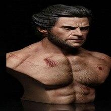 1/6scale Male Muscle Uncle Wolverine logan half Chest Bust Sculpture battle Damaged Body for 1/6 nger/Normal Version Head Sculpt