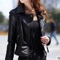 Nuevas Mujeres de la Chaqueta de Cuero Delgado Del Motorista de La Motocicleta de la Cremallera de LA PU Leather Coat Plus tamaño