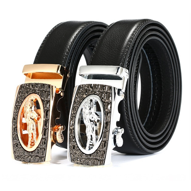 Men's Belts El Barco High Quality Leather Men Belt Black Gold Automatic Buckle Crocodile Male Belts Luxury Brand Designer Casual Waist Strap
