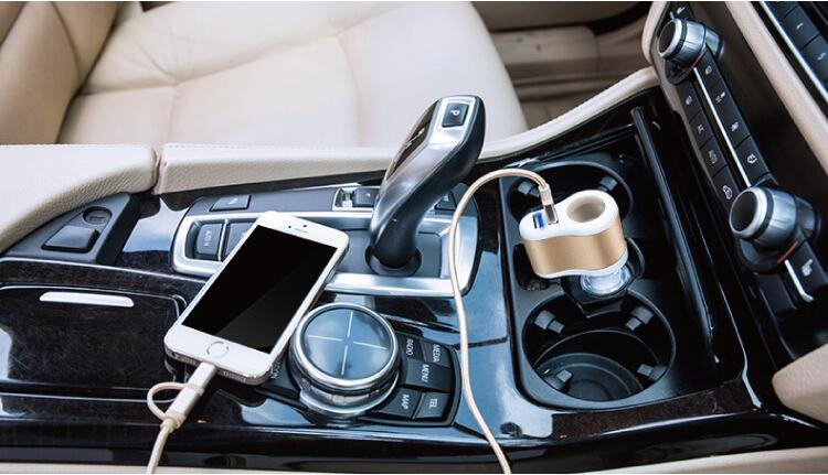 vehicle-mounted Dual USB port charger Output 12V-24V. input 5V-3.1MA. Convenient for Hyundai Solaris IX25 IX35 Tucson Sonata