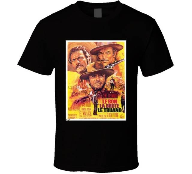 Clint Eastwood T Shirt Movie Poster The Good The Bad And The Ugly (french)