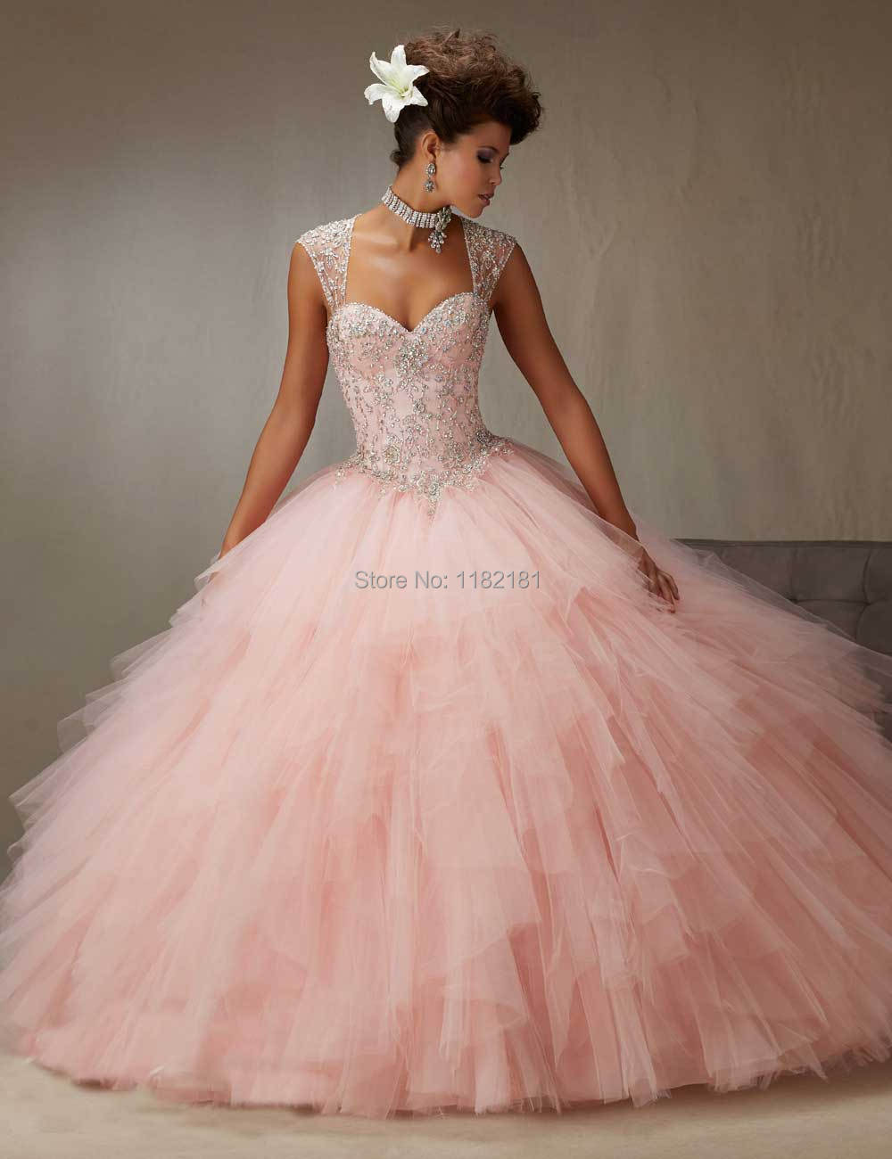 Removable Strap Corset Bodice Ball Gown Girls Quinceanera Dress Pink Sweetheart Cheap Sweet 16