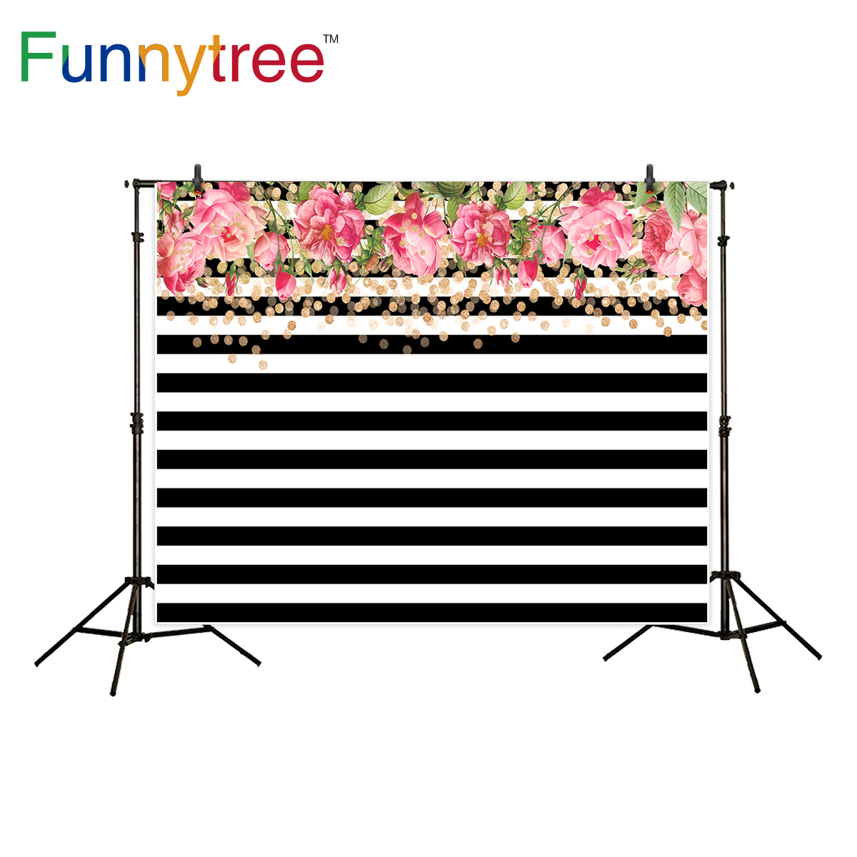 Funnytree backdrop for photography studio flower white black stripe gold dots party decor background photocall photobooth