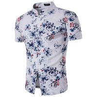 Linen Blend Summer Shirts Men Stand Collar Floral Printed Chinese Camis Social Mens Short Sleeve Single