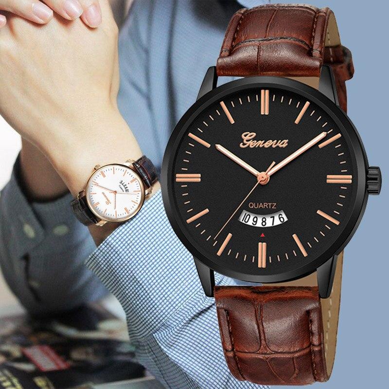Top Brand Watches Men Luxury Geneva Fashion Leather Band Ultra Thin Watches Men Classic Quartz Men's Date Wrist Watch Hodinky