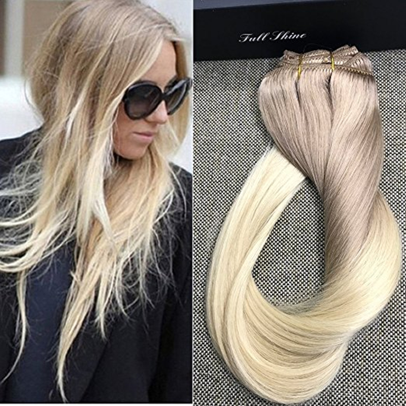 Full shine double weft clip hair extensions balayage human hair full shine double weft clip hair extensions balayage human hair extensions100 remy human hair clip ins ombre color 18 613 on aliexpress alibaba pmusecretfo Gallery