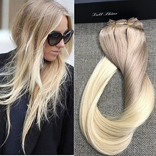 Full Shine Double Weft Clip Hair Extensions Balayage Human Hair
