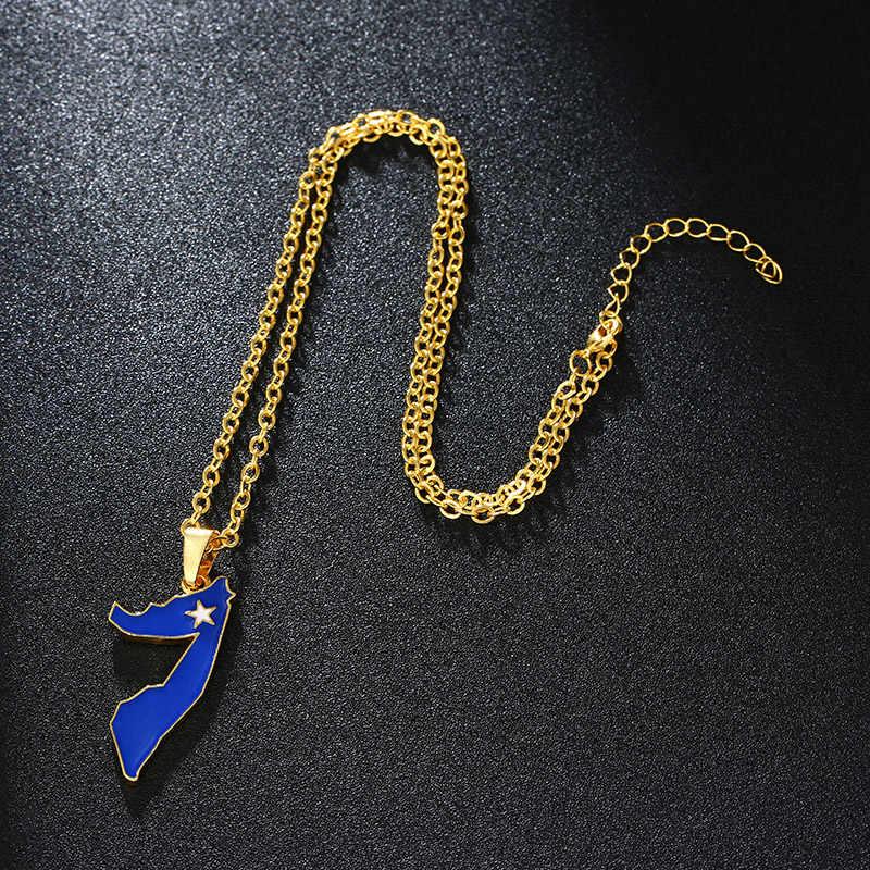 SONYA złoty kolor somalii mapa i flaga wisiorki i naszyjniki dla kobiet/mężczyzn Unisex somalilandu naszyjnik biżuteria Bijoux Femme