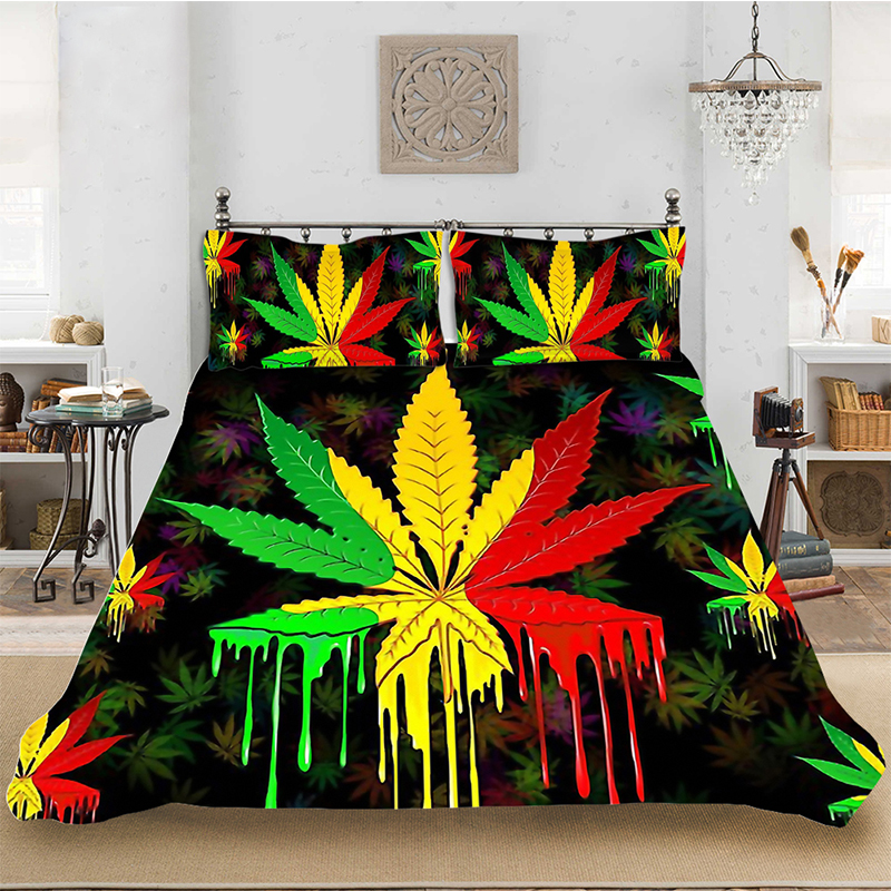 3D Print Maple Leaf Colorful Luxury Bedding Set Bedclothes Include Duvet Cover Pillowcase Print Home Textile Bed Linens