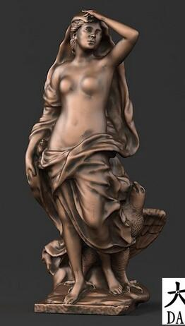 Girl And Eagle STL 3D Model Statue Artcam