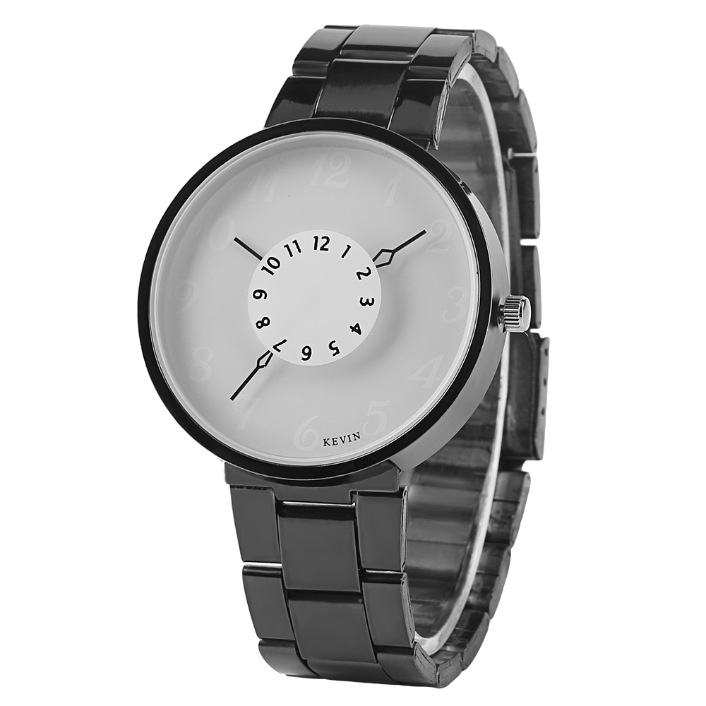 KEVIN Black or White Round Small Dial Watch Simple Design Stainless Steel Strap Fashion Quartz WristWatch for Men Women Gift kevin black white blue candy color women watches minimalist silicone strap round dial quartz ladies watch fashion sport clock