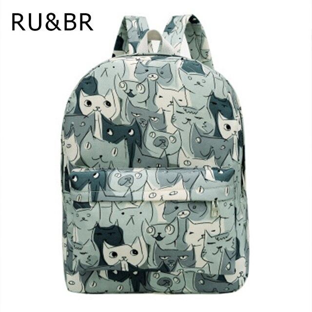 RU&BR Cute Cat Canvas Backpack Casaul Printing Women Rucksack College School Bag For Teenagers Large Capacity Shoulders BackPack